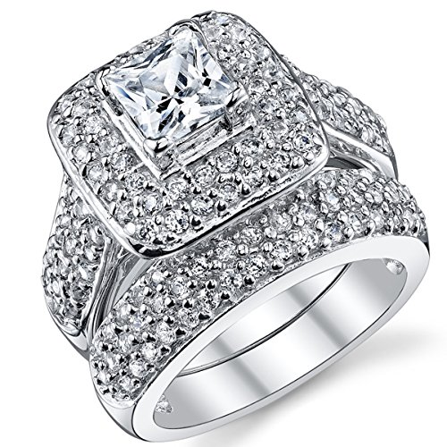 Sterling Silver 1 Carat Princess Cut Cubic Zirconia Wedding Engagement Ring Band Set 6.5
