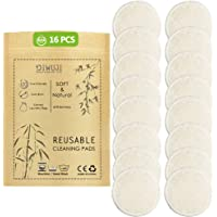 Tampons Démaquillants Bio en Bambou Réutilisables, Coton Biologique Microfibre Visage Nettoyage Lavable Yeux Maquillage, Super Doux Absorption Lavage Chiffon Tampons Avec Sac à Linge Gratuit (16pcs)