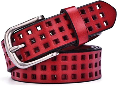 CTARCROW Womens Leather Cowhide Apparel Belts Fit Buckle Waist Belt for Custom