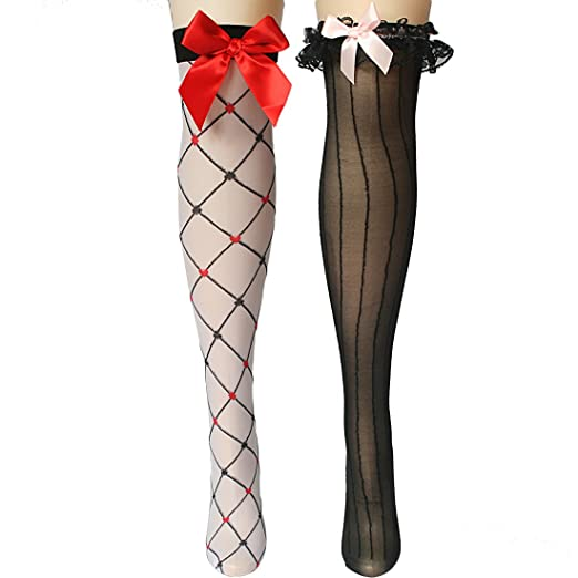 14ce9eeb2 kilofly Thigh High Hold Ups Sheer Stockings Combo  Set of 2 Pairs ...