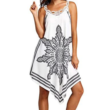 b61e6ee1d5ef12 Amazon.com  Women s Lace Splice Printing Sleeveless Mini Dress Casual  Strapless Irregular Hem Party Dress Beach Dresses Sundress  Clothing