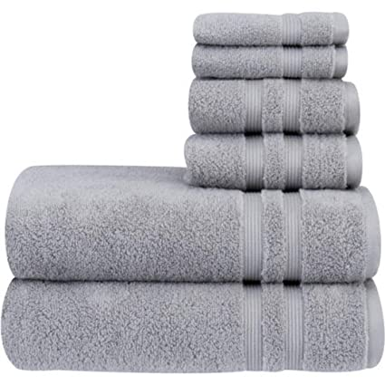 OV 6 Piece Soft Silver Solid Color Towel Set with 30 X 54 Inches Bath Towels