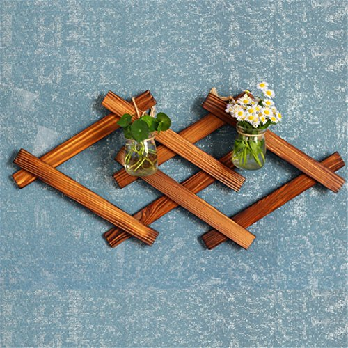 flower stand flower pot stand - Flower Shelf Wall Decoration Wooden Rack Creativity Small Flower Rack HxWxD: 45 x 21 x 1 Cm (Color : Double) by Hyun times Flower stand