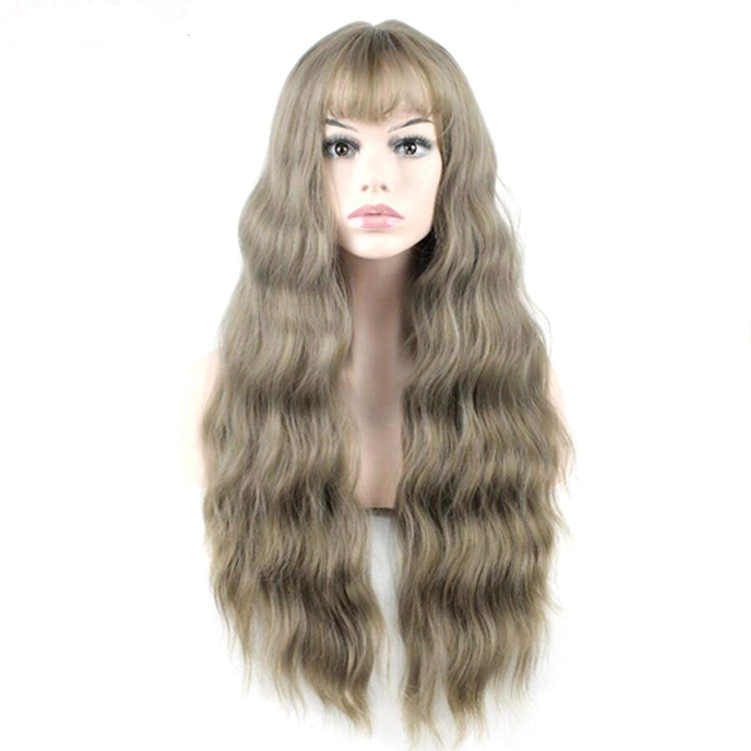 Jie yi long two department store; Ultra thin bangs Long Curly Wig Synthetic Wigs gray Black Pink 26inch High Temperature Fiber women wig-in Synthetic None,Muli Color,26inches