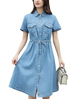 1feec47fc35d Springrain Women's Casual Lapel Button Down Short Sleeve Denim Shirt Midi  Dress