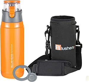 Blushers 650ml (22oz) Double Wall Vacuum Insulated 304 Stainless Steel To Go Travel Mug, One Touch Lock Lid Thermos Water Bottle (Orange - 3 Piece Set)