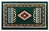 Southwest Native American Mat Area Rug Design Kingdom 143 Hunter Green (24 Inch X 40 Inch) Mat