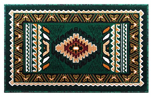 Southwest Native American Mat Area Rug Design Kingdom 143 Hunter Green (24 Inch X 40 Inch) Mat Brick Southwestern Rug