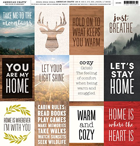 American Crafts Pebbles -Warm and Cozy Cardstock 12 x 12 Paper Pattern Warm Quotes (2 Pack)