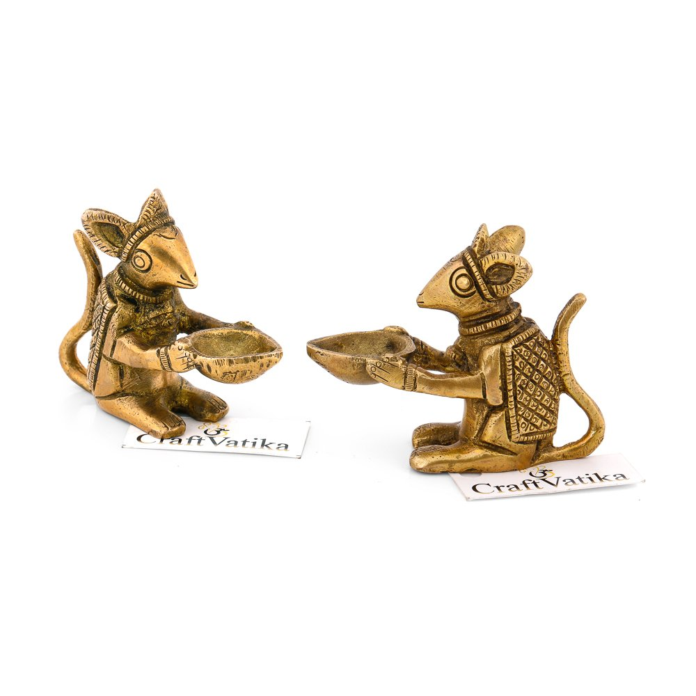 CraftVatika 2.4'' Mouse Oil Lamp Brass Diya Holding Ganesha's Mouse Sitting Animal Decorative items For Home & Office Decor