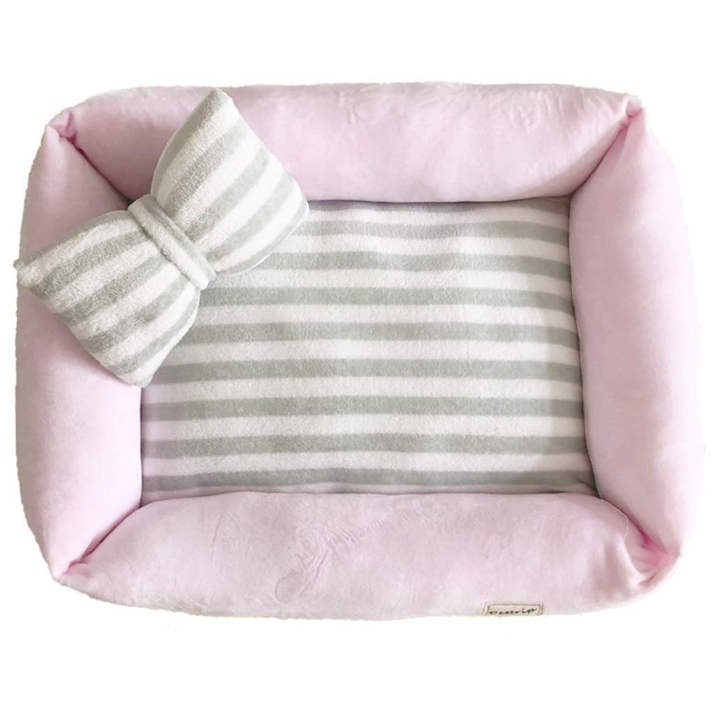 50×40cm PINK 50×40cm PINK pet bed Pet Mat, Large Dog Kennel Cat House Removable And Washable Pet Nest Wear-resistant Bite Pet Bed (color   PINK, Size   50×40cm)