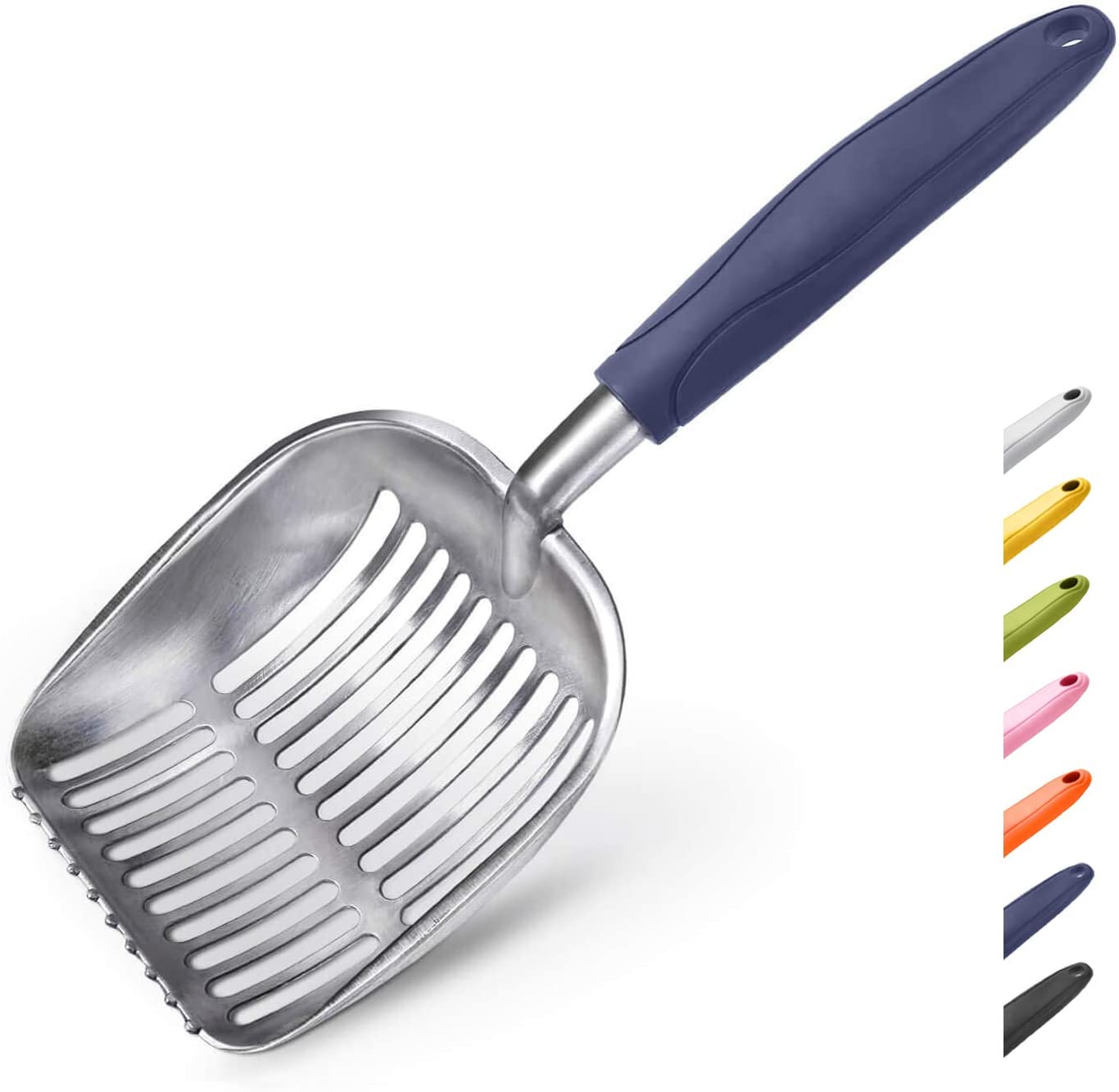 WePet Cat Litter Scoop Solid Aluminum Alloy Sifter Deep Shovel, Long Handle Cat Metal Scooper, Poop Sifting, Pooper Lifter, Kitty Pet Sifter Durable, Heavy Duty Neater Scoops for Litterbox