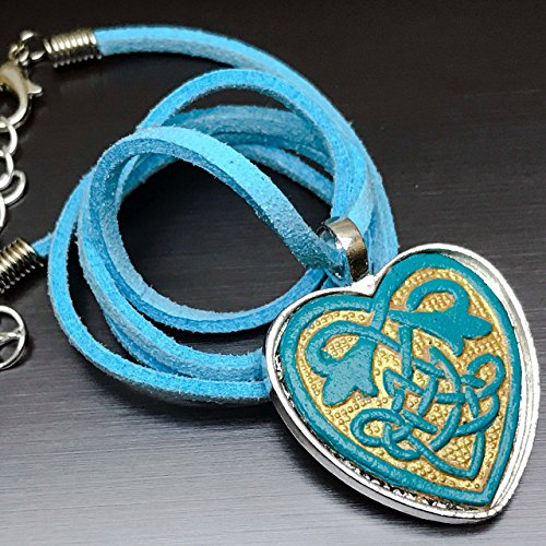 Partner Costumes For Teenage Girls (Teal Celtic Heart Leather Pendant Necklace)