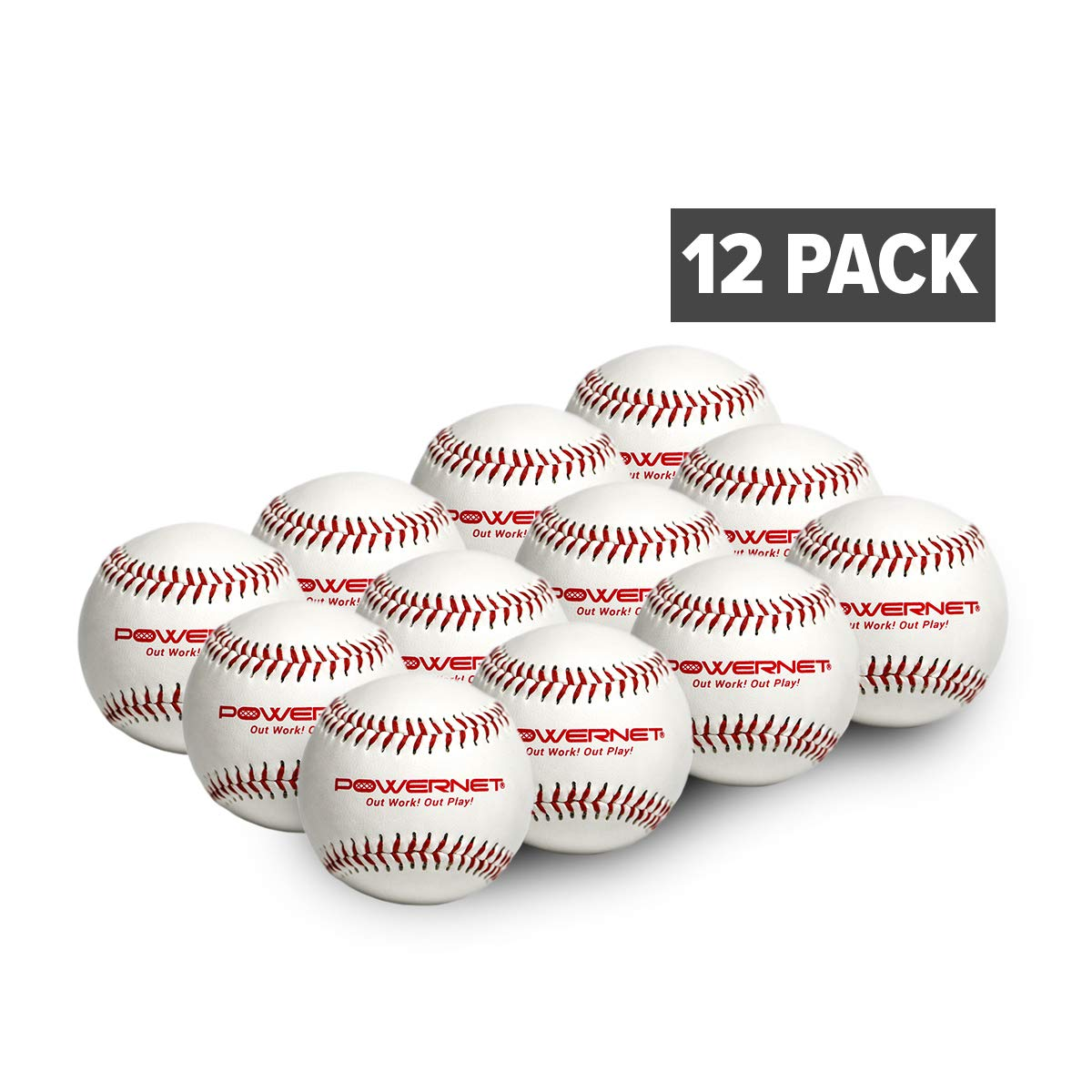 PowerNet Practice Baseballs | 12 PK Recreation Grade Regulation Size Balls | Perfect for Baseball Soft Toss, Batting, Fielding, Hitting, Pitching, Practice or Training | White Cover with Red Seams
