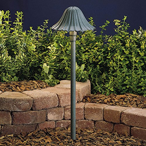 15314MST Single-Tier Leaf 1LT Incandescent/LED Hybrid Low Voltage Landscape Path and Spread Light, Textured Midnight Spruce Finish