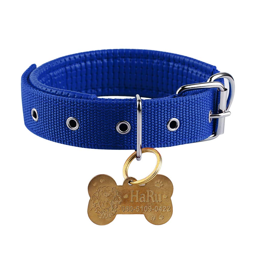 bluee XS(Neck size 28-35cm) bluee XS(Neck size 28-35cm) Boknight Personalised Dog Collars for Small Medium Large Dogs, Stainless Steel Bone Shaped Dog Tag Free Engraving for Cats Dogs