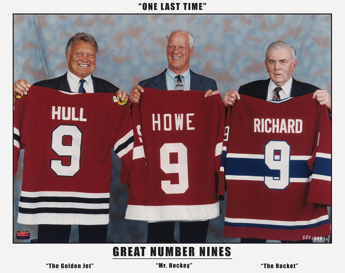 The Three Great Nines - Maurice Richard, Gordie Howe and Bobby Hull Autograph Authentic