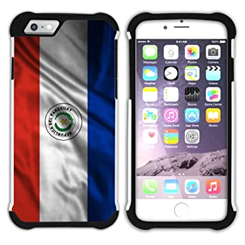 FJCases Paraguay Paraguayo Bandera Ondeante Carcasa Funda A Prueba De Golpes Híbrido Duro / Flexible Con