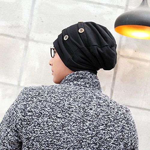 Sombrero Mujer cráneo Cap de Caliente Hombre Gorro Slouchy Moda Maozi para Suave Flexible Holgados BLACK Tejer vOz5xnw