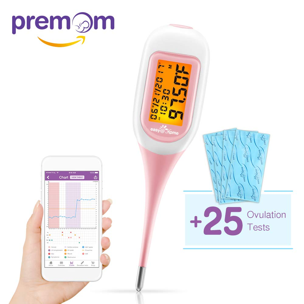 Easy@Home Smart Basal Thermometer with Bonus 25 LH Ovulation Test Strips,Tracker with Premom Ovulation Predictor App, Auto BBT Sync, Charting, Coverline and Accurate Fertility Prediction
