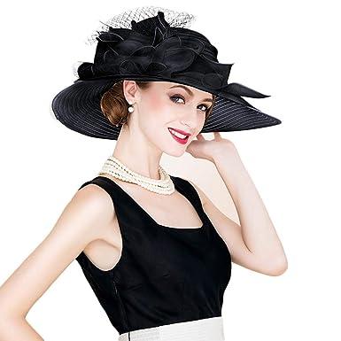 cbeec7f5a25 Elegant Church Hats Summer Large Brim Organza Hat Sun Flowers Derby Hat at  Amazon Women s Clothing store