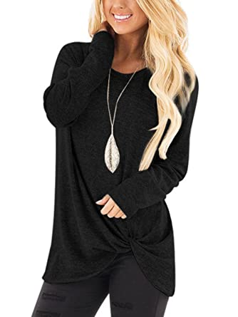 b4cd7d2f062 YOINS Women s Plain Round Neck Long Sleeve Loose Fit T-Shirts with Crossed  Front Design