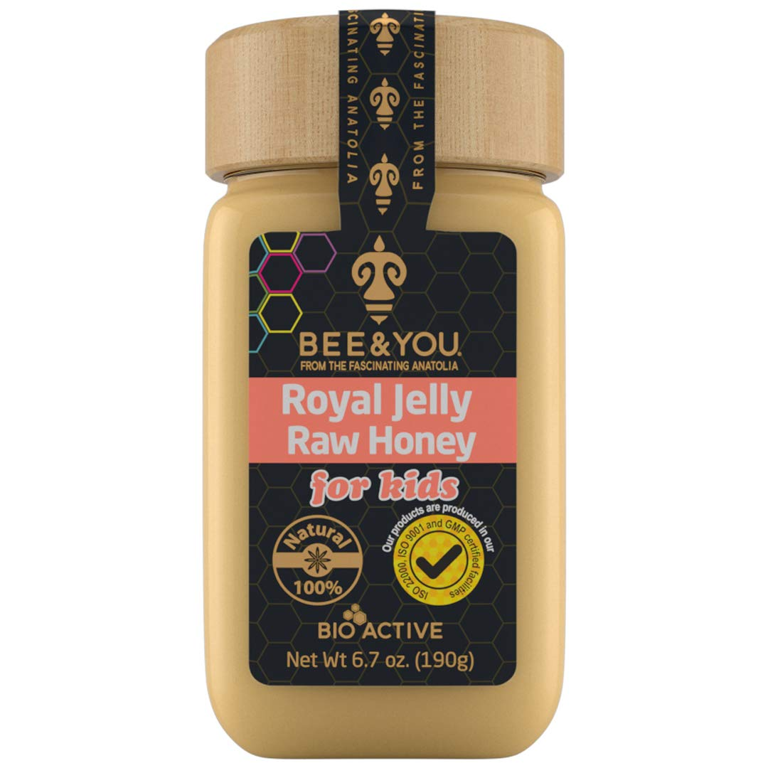 Bee and You Royal Jelly + Raw Honey Mix for Kids – Pure – Superfood – No Additives/Flavors/Preservatives Added – 6.7 oz