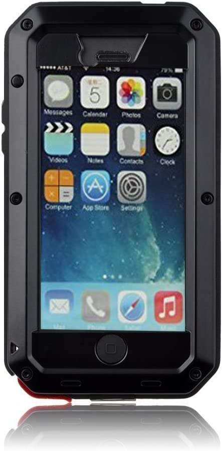 Mangix iPhone 5C Case, Water Resistant Shockproof Aluminum Metal [Outter] Super Anti Shake Silicone [Inner] Fully Body Protection with Gorilla Glass Screen for Apple iPhone 5C (Black)