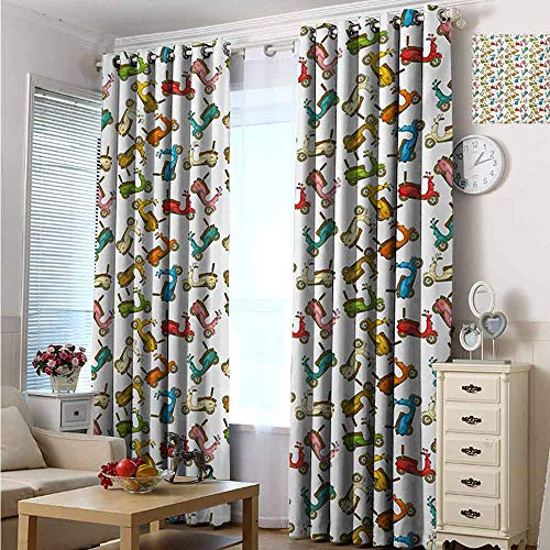 hengshu Motorcycle Room Darkened Insulation Grommet Curtain Famous Moped Bikes in Cartoon Style Retro Italian Scooters Living Room W72 x L84 Inch Multicolor (Best Retro Bikes In India)