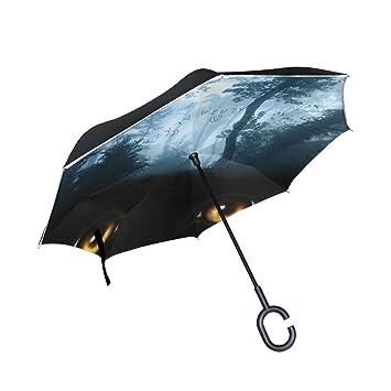 jstel doble capa puede forestal y de ojo de gato noche paraguas coches Reverse resistente al