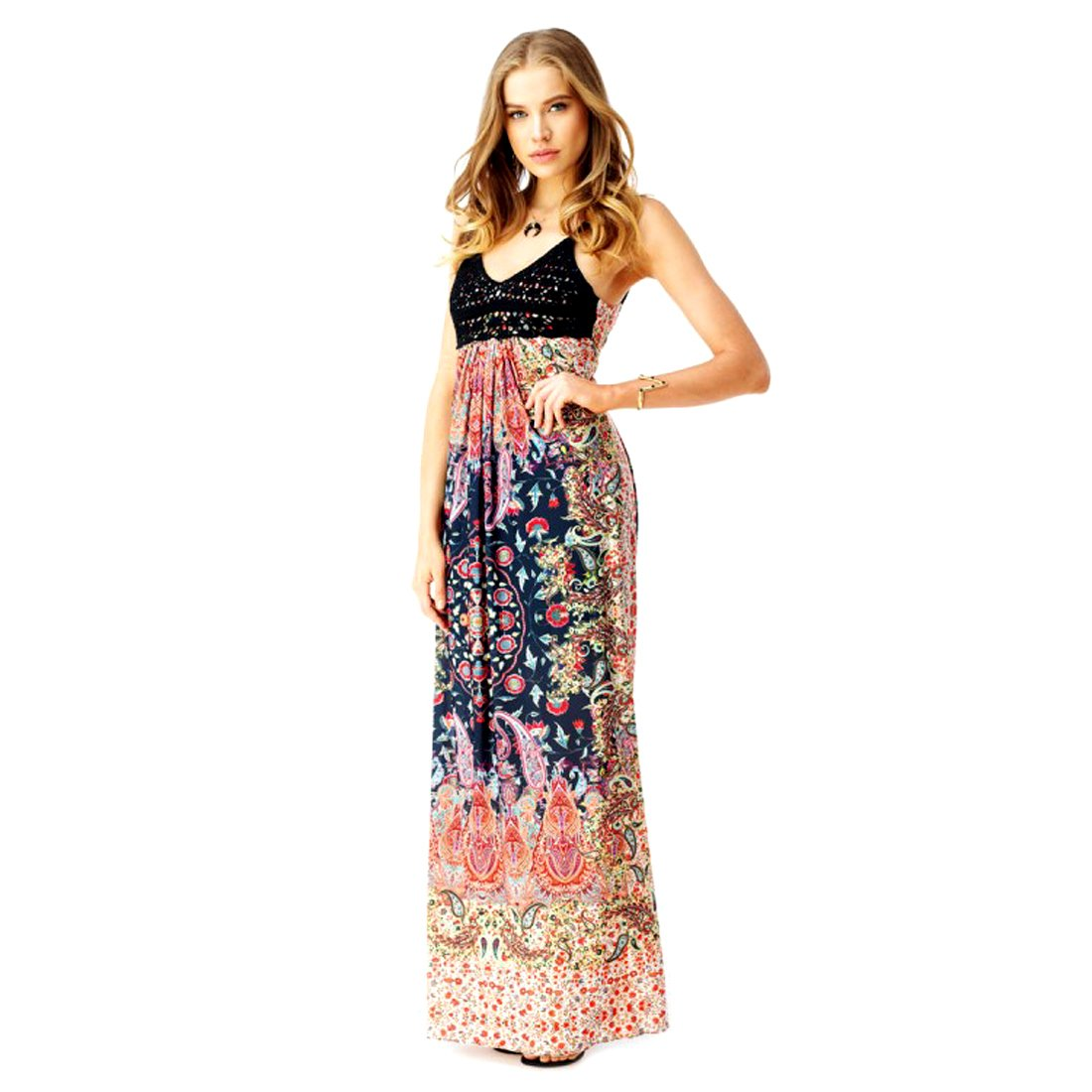 Sky Collection Penton Multi Color Print Sleeveless Open Back Maxi Long Dress
