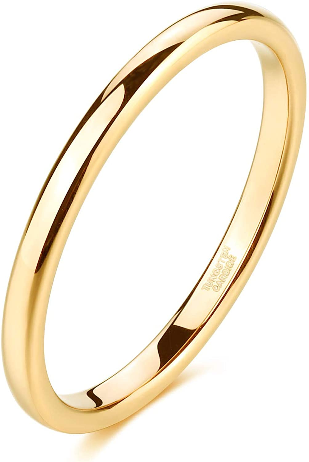 Tungsten Wedding Band Domed Mens Women/'s His Hers Unisex 6mm Promise Anniversary Engagement Comfort Fit Free Engraving Yellow Gold Plated