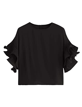 f412be05889 Romwe Women s Zip Back Blouse Ruffle Short Sleeve Tee Top at Amazon ...
