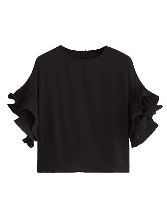 bb73265c4724c5 Romwe Women's Zip Back Blouse Ruffle Short Sleeve Tee Top at Amazon ...