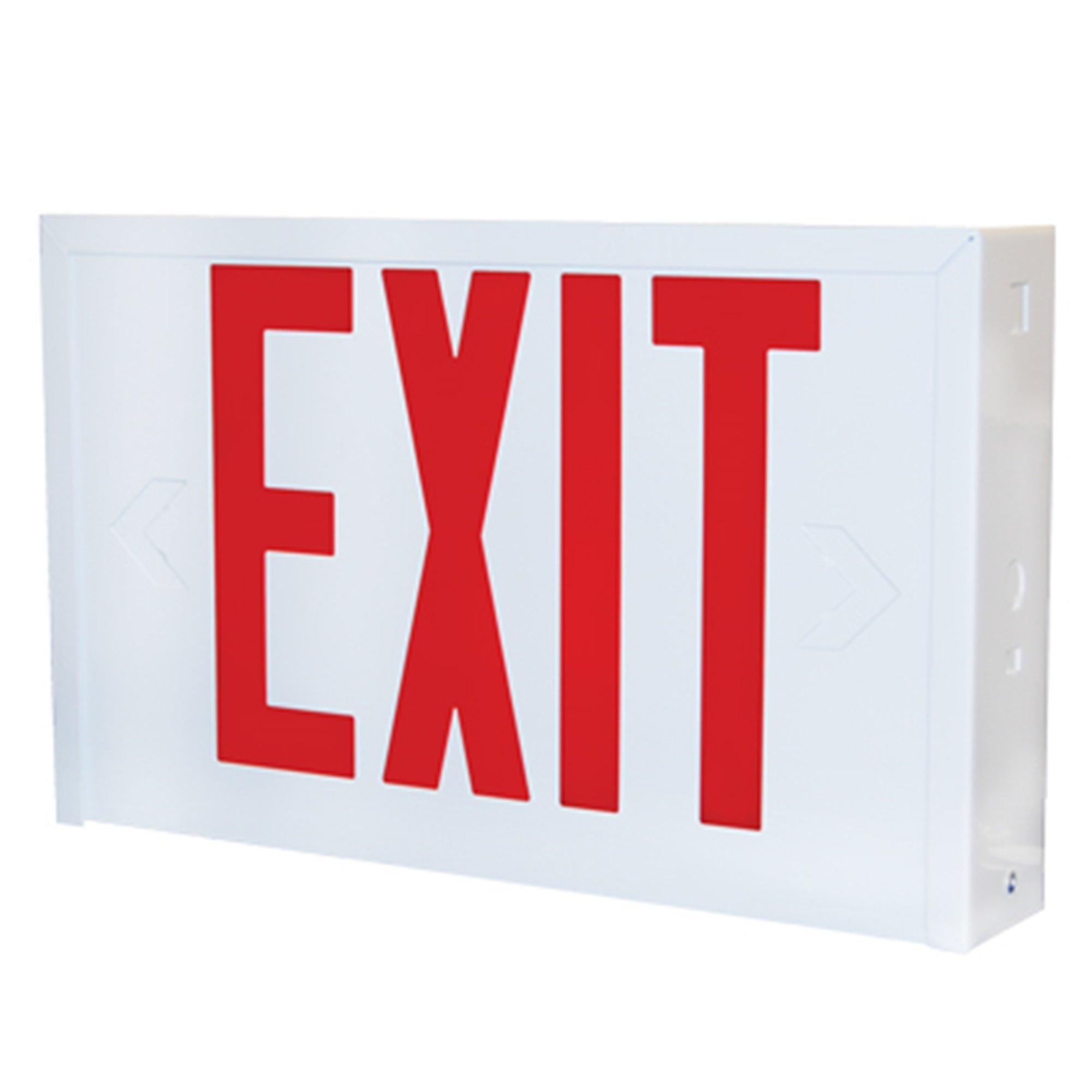 Lithonia Lighting LX W 3 R EL N Titan Steel White LED Emergency Exit Sign
