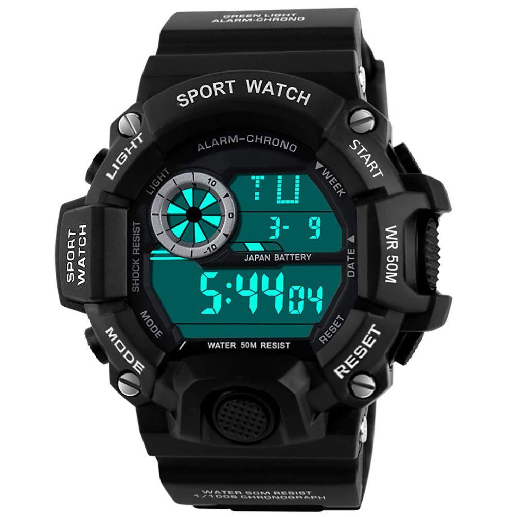VIGOROSO Mens Camouflage Military Army LED Digital Sport Date Fan Wrist Watch