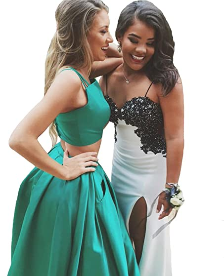 Two Piece Spaghetti Straps Peacock Green Satin Prom Dress With Pocket 2