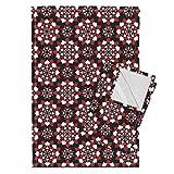 Cards Suit Flower Poker Tea Towels A Suit Of Flowers (Black) by Robyriker Set of 2 Linen Cotton Tea Towels