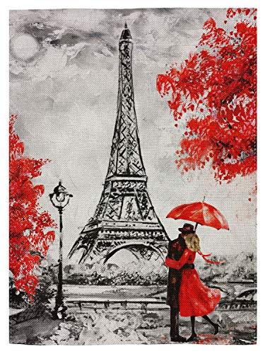 pingpi France Eiffel Tower Double Sided Burlap Garden Flag 12.5