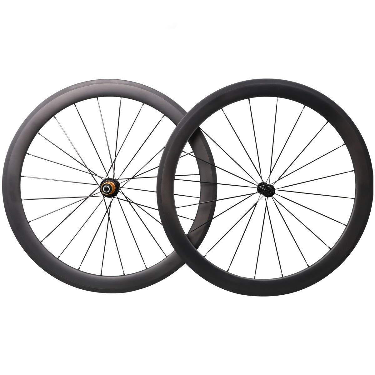ホイール カーボン 自転車 700C リム 50TL 25幅 チューブレス ハプ Bitex 前後セット ホイールセット Sapim スポーク クリンチャー B07GYN49TP  ブラック 55mm