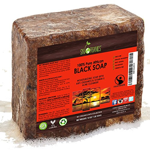 - Organic African Black Soap (16oz block) - Raw Organic Soap Ideal for Acne, Eczema, Dry Skin, Psoriasis, Scar Removal, Face & Body Wash, Authentic Black Soap From Ghana with Cocoa, Shea Butter & Aloe