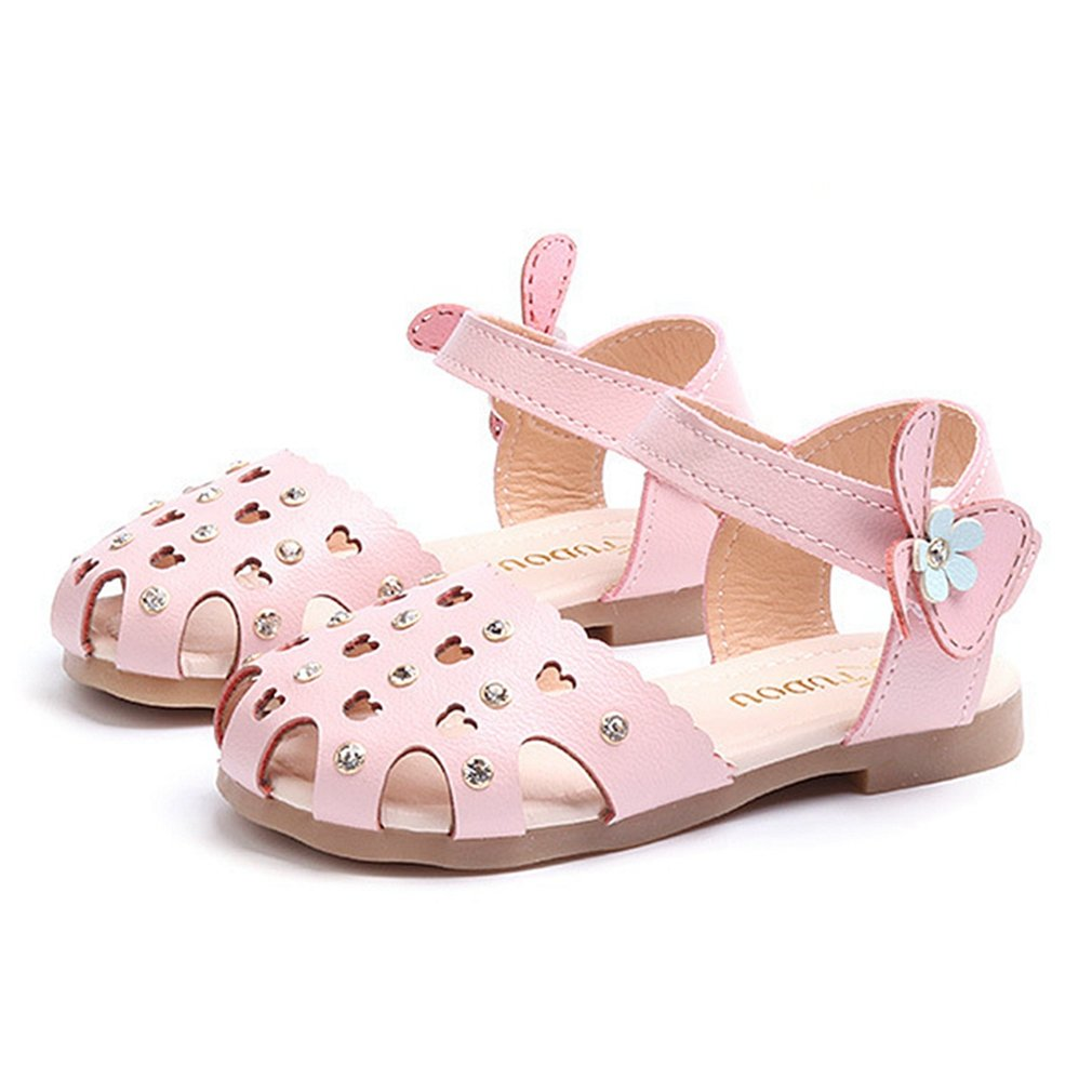 CYBLING Girls Closed-Toe Sandals Summer Cut Out Casual Princess Flat Shoes (Toddler/Little Kid)