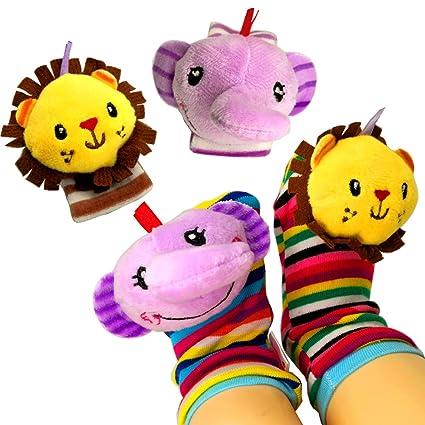 4pcs Baby Infant Toy Developmental Wrist Strap Foot Socks Rattle Bug Finders Baby Essentials Baby
