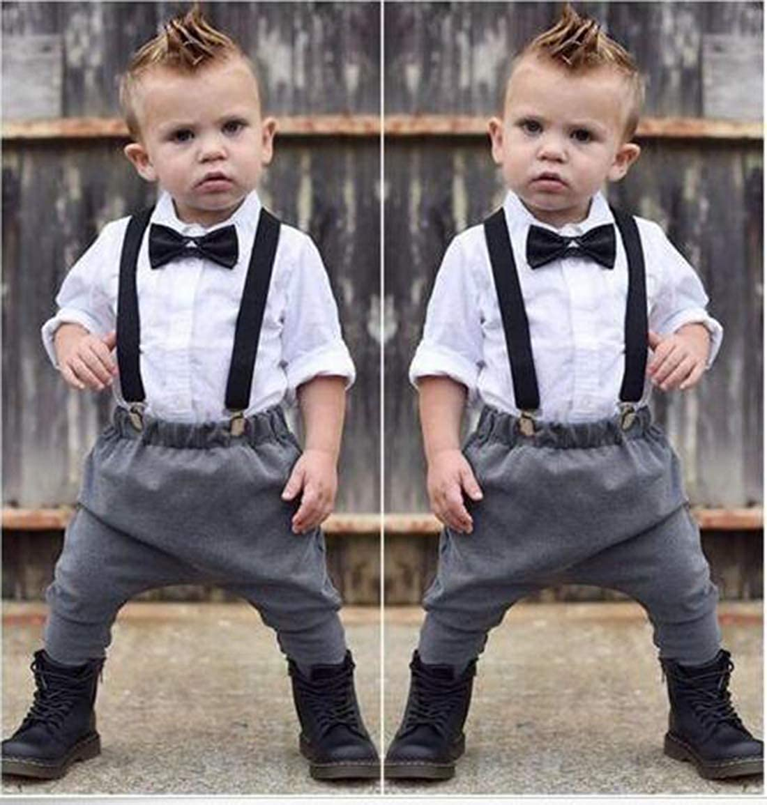 Young U Toddler Infant Boy Grid Rompers Long Pants Formal Wear with Bowtie Outfits Gentleman Set