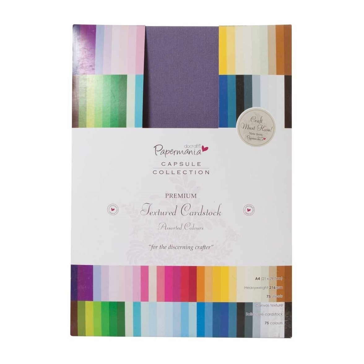 Pack of 75 OfficeCentre Docrafts A4 Premium Cardstock Textured Capsule Multicolour