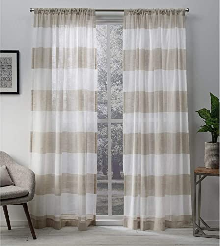 Exclusive Home Curtains Darma Sheer Linen Rod Pocket Curtain Panel Pair, 50×108, 2 Piece