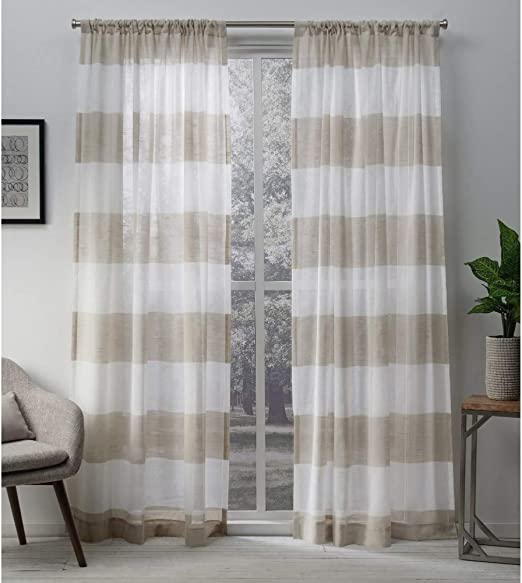 Amazon Com Exclusive Home Curtains Darma Light Filtering Semi Sheer Linen Rod Pocket Curtain Panel Pair 50x84 2 Count Home Kitchen