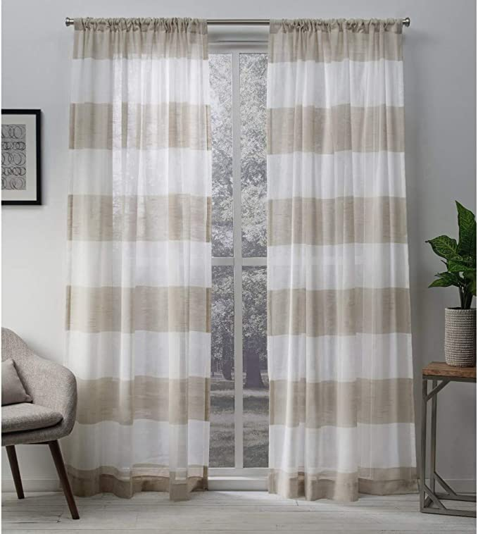 Exclusive Home Curtains Darma Light Filtering Semi Sheer Linen Rod Pocket Curtain Panel Pair 50x108 2 Count Home Kitchen Amazon Com