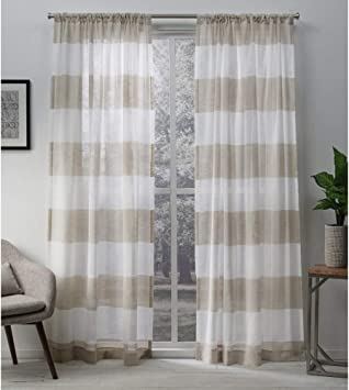 Exclusive Home Curtains Darma Light Filtering Semi Sheer Linen Rod Pocket Curtain Panel Pair 50x84 2 Count Home Kitchen Amazon Com