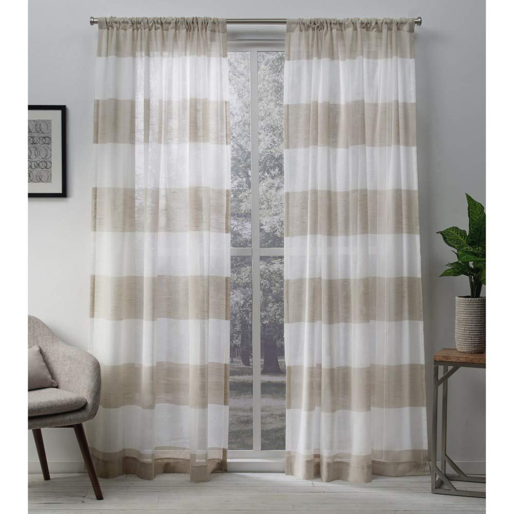 Exclusive Home Curtains Darma Sheer Linen Window Curtain Panel Pair with Rod Pocket, 50x84, 2 Piece